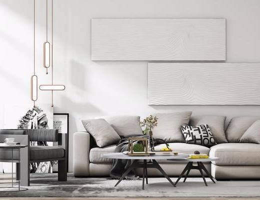 现代简约, 沙发茶几组合, 吊灯, 花瓶, 装饰画, 现代, 下得乐3888套模型合辑