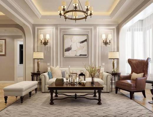美式, 客厅, 餐厅, 沙发, 茶几, 吊灯, 壁灯, 挂画, 台灯, 餐桌, 椅子, 摆件