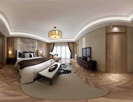 新中式卧室, 双人床, 床尾塌, 壁画, 吊灯, 床头柜, 台灯, 单人沙发椅, 电视柜, 花瓶, 地毯, 新中式