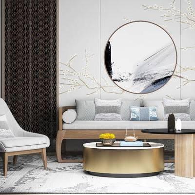 沙发组合, 椅子, 新中式沙发, 壁画, 新中式