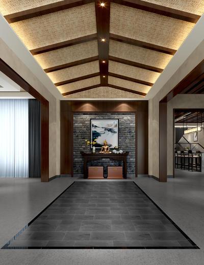 玄关走廊, 壁画, 边几, 台灯, 桌子, 吧椅, 中式