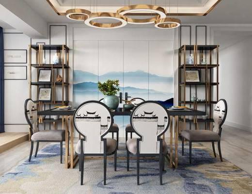餐厅, 桌椅组合, 置物架, 吊灯, 餐具组合, 后现代, 下得乐3888套模型合辑