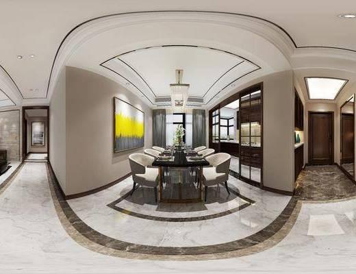 现代客厅, 现代桌椅组合, 吊灯, 壁画, 玄关, 玄关柜, 沙发茶几组合, 边几, 台灯, 沙发凳, 碗碟, 酒杯, 电视柜, 现代