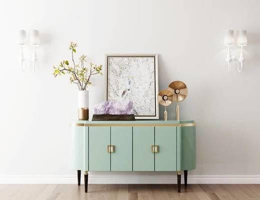 摆件组合, 装饰柜, 壁灯, 装饰画, 花瓶, 简欧