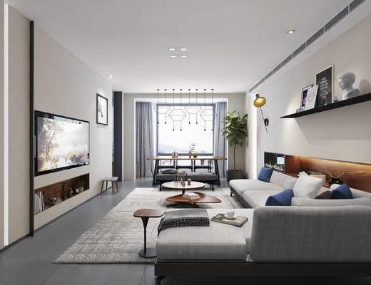 现代客厅, 壁画, 多人沙发, 置物架, 茶几, 椅子, 电视柜, 壁灯, 盆栽, 现代