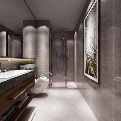现代卫浴, 洗手台, 马桶, 壁画, 现代