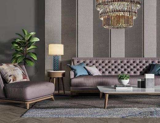 现代简约, 紫色, 沙发茶几组合, 吊灯, 欧式, 简约