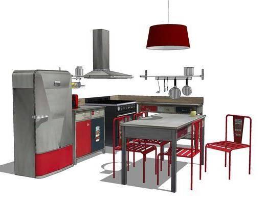 厨柜, 橱柜, 桌椅组合, 厨房, 吊灯, 餐桌, 现代