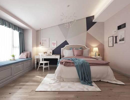 北欧, 卧室, 窗帘, 床头柜, 台灯, 地毯, 挂画, 书桌, 吊灯