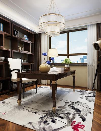 中式书房, 桌子, 椅子, 吊灯, 置物柜, 壁画, 台灯, 地毯, 中式
