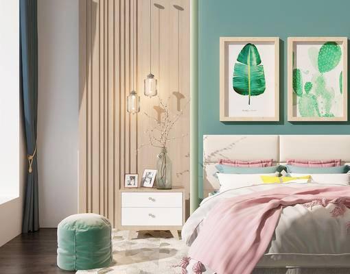 双人床, 床头柜, 吊灯, 沙发凳, 壁画, 现代