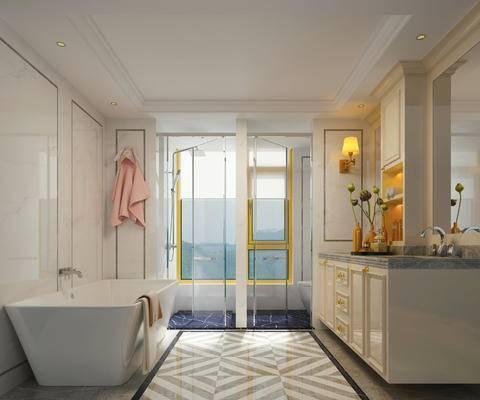 简欧, 浴室, 洗手台, 浴缸, 壁灯, 浴巾, 摆件