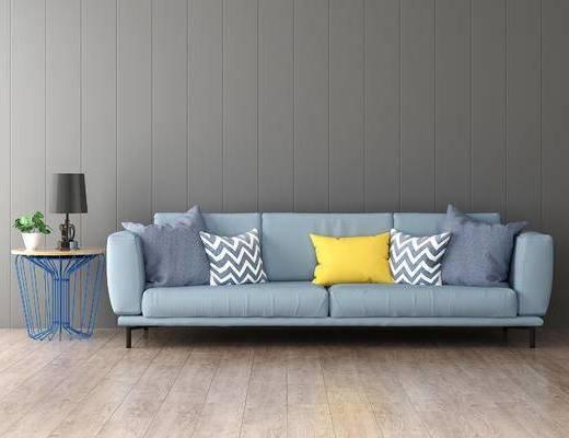 沙发组合, 边几, 台灯, 北欧