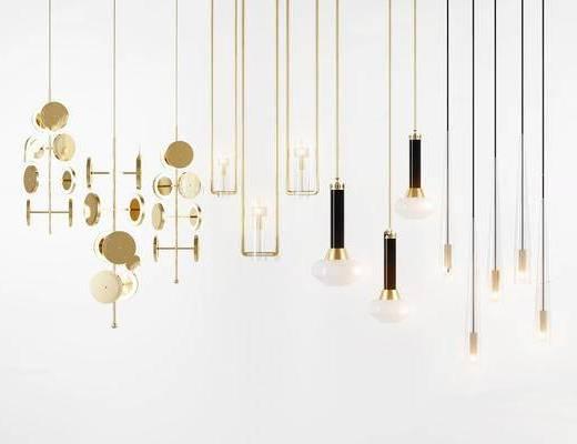 现代简约, 吊灯, 现代吊灯, 灯具组合