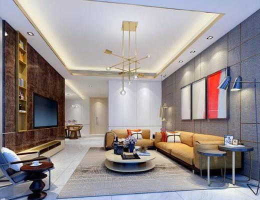 现代客餐厅, 多人沙发, 壁画, 茶几, 边几, 置物柜, 椅子, 现代