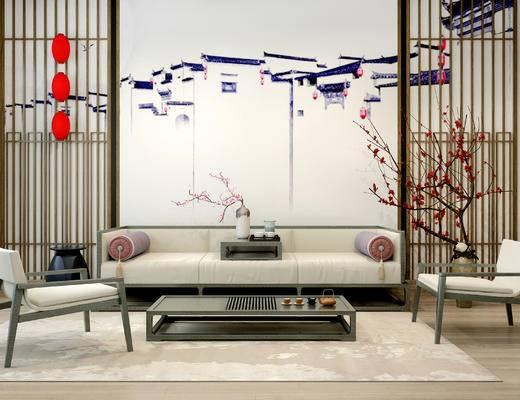 沙发组合, 多人沙发, 壁画, 茶几, 椅子, 花瓶, 地毯, 中式