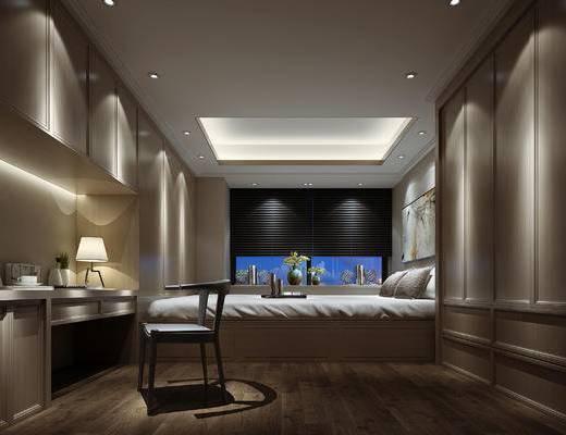 现代卧室, 双人床, 办公台, 办公椅, 现代