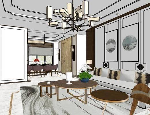 新中式客餐厅, 壁画, 多人沙发, 茶几, 桌子, 椅子, 置物柜, 边几, 台灯, 吊灯, 新中式