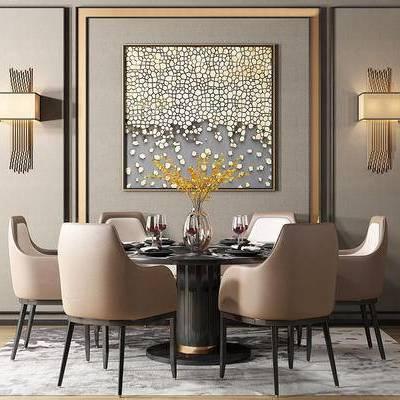 现代简约, 桌椅组合, 壁灯, 餐具组合, 花瓶, 现代, 下得乐3888套模型合辑