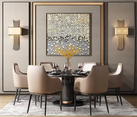 现代简约, 桌椅组合, 壁灯, 餐具组合, 花瓶, 现代