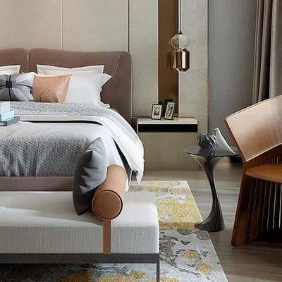 后现代卧室, 双人床, 床尾塌, 吊灯, 床头柜, 椅子, 壁画, 落地灯, 边几, 后现代