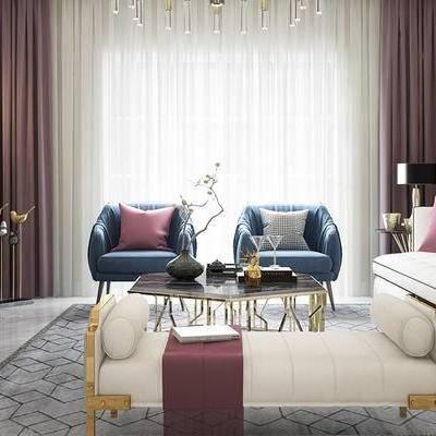 后现代客厅, 多人沙发, 电视柜, 茶几, 椅子, 壁画, 边几, 台灯, 地毯, 后现代