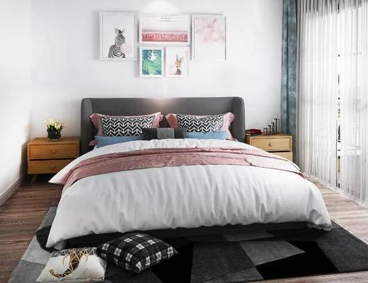 床具组合, 双人床, 床头柜, 壁画, 北欧