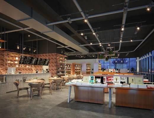 现代咖啡厅, 吧台, 吧椅, 桌子, 椅子, 置物柜, 现代