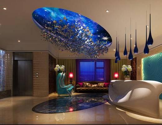 现代前台, 多人沙发, 壁画, 吊灯, 椅子, 台灯, 边几, 现代