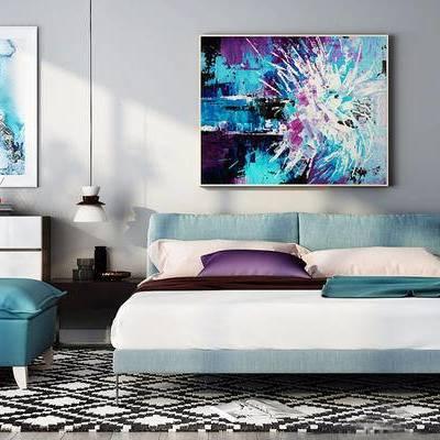 现代简约, 床具组合, 吊灯, 装饰画, 下得乐3888套模型合辑