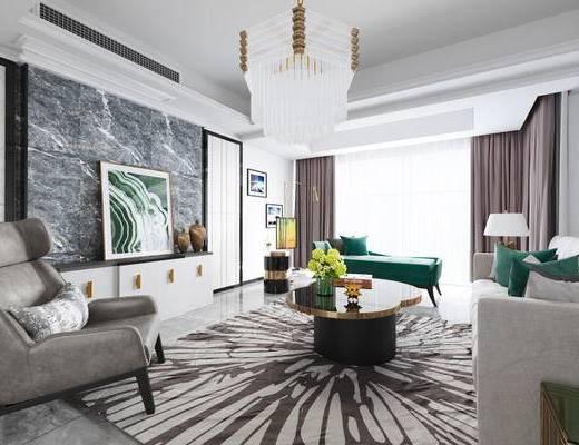 现代简约, 客厅, 沙发茶几组合, 吊灯, 装饰画