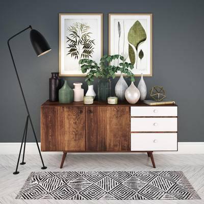 边柜, 花瓶, 落地灯, 装饰画, 现代