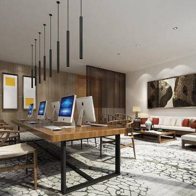 现代办公室, 吊灯, 壁画, 桌子, 椅子, 茶几, 多人沙发, 边几, 台灯, 现代