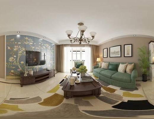 现代客餐厅, 壁画, 多人沙发, 茶几, 电视柜, 桌子, 椅子, 台灯, 置物柜, 吊灯, 现代