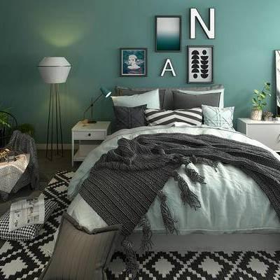 床具组合, 边柜, 双人床, 床头柜, 落地灯, 壁画, 椅子, 盆栽, 沙发凳, 地毯, 北欧