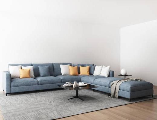 多人沙发, 茶几, 地毯, 现代