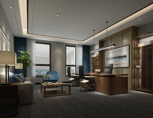 现代办公室, 桌子, 椅子, 置物柜, 边几, 台灯, 壁画, 现代