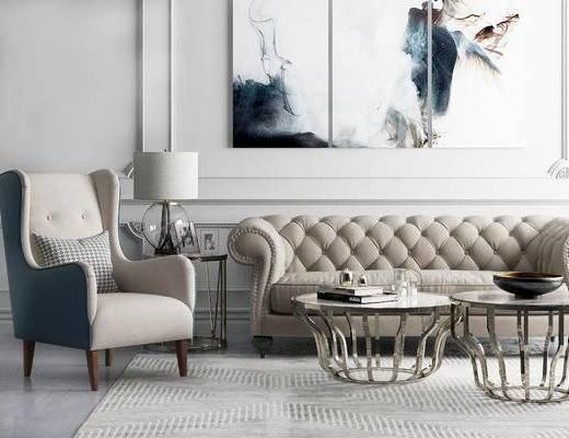 沙发组合, 多人沙发, 壁画, 边几, 台灯, 椅子, 相框, 地毯, 美式