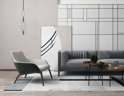 现代沙发茶几组合, 吊灯, 沙发单椅, 现代