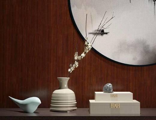 新中式, 摆件, 花瓶, 墙饰