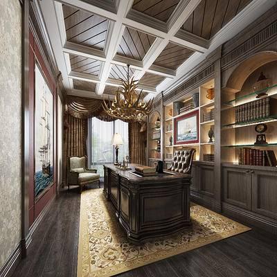 新古典书房, 椅子, 置物柜, 吊灯, 桌子, 壁画, 台灯, 新古典