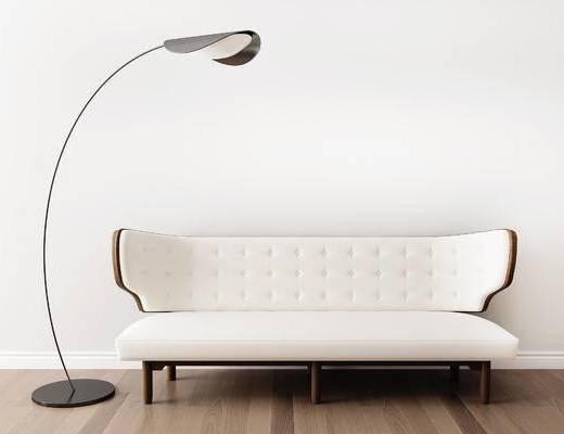 沙发组合, 多人沙发, 落地灯, 美式