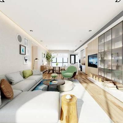 现代客厅, 多人沙发, 茶几, 置物柜, 壁画, 桌子, 椅子, 落地灯, 边柜, 橱柜, 边几, 现代