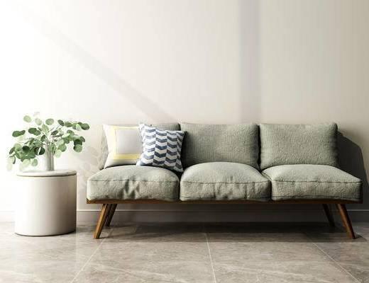 沙发组合, 多人沙发, 盆栽, 现代