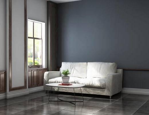 北歐客廳, 雙人沙發, 客廳, 茶幾, 盆栽, 北歐