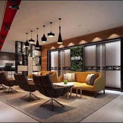 现代办公室, 多人沙发, 单人沙发, 茶几, 置物柜, 吊灯, 现代