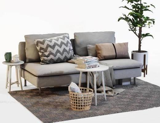 北欧简约, 沙发茶几组合, 植物盆栽, 书籍