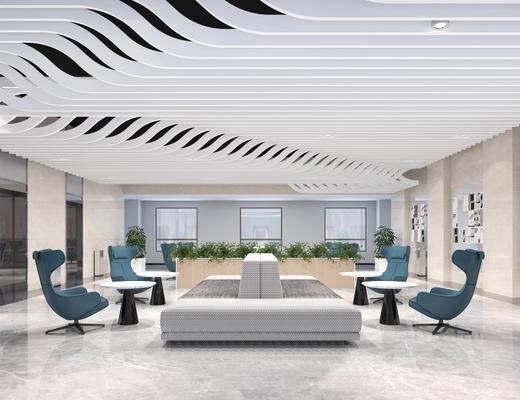 办公区, 多人沙发, 椅子, 置物柜, 现代