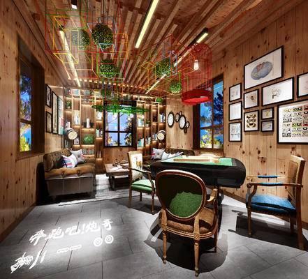 休闲, 多人沙发, 茶几, 壁画, 吊灯, 桌子, 现代