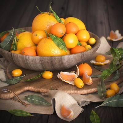 水果, 橙子, 橘子, 现代, 果篮